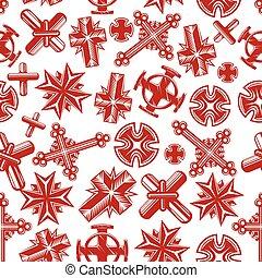 antico, cristiano, modello, seamless, crocifissi, rosso