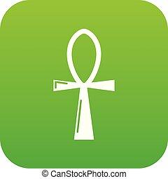 antico, egiziano, ankh, croce, vettore, verde, icona
