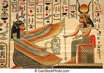 antico, elementi, storia, papiro, egiziano