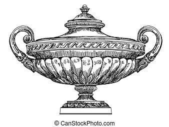 antico, illustrazione, vaso, vettore, mano, disegno