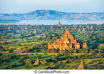 antico, myanmar, altitudine, bagan, pagodas, balloon