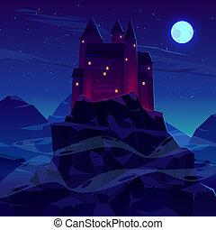 antico, o, castello, fortezza, montagne