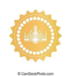 antico, oro, colorare, corona reale, marchio, qualità