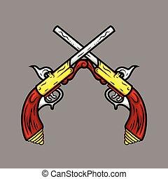 antico, pistole, croce