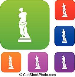 antico, set, statua, collezione