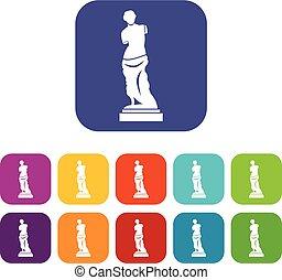 antico, set, statua, icone
