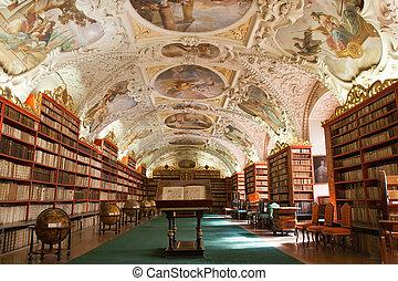 antico, vecchio, globi, libri, monastero, praga, biblioteca, salone, decorazione, ceco, scaffali, repubblica, strahov, stucco, teologico, mobilia