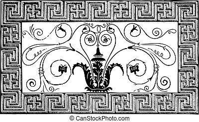 antico, volutes, romano, parigi, pittoresque, patterns., dettaglio, geometrico, rivista, le, disegno, 1840, foliated, fatto, bordo, mosaico, magasin