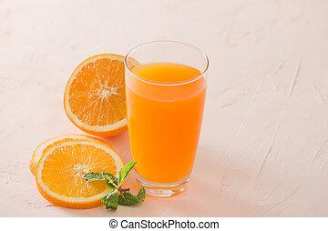 antioxidant., naturale, cocktail, fette, dolce, percento, succoso, arance, isolato, succo, vetro., fondo., arancia, fresco, bianco, organic., 100