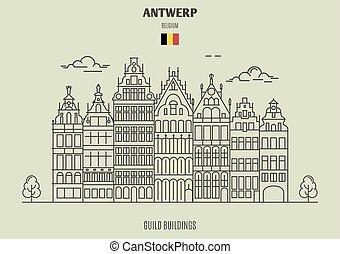 antwerp, corporazione, punto di riferimento, belgium., costruzioni, icona