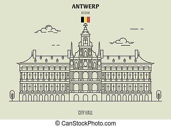 antwerp, punto di riferimento, belgium., municipio, icona