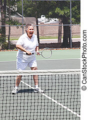 anziano attivo, tennis, -, donna