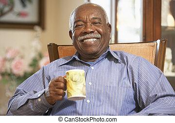 anziano, bevanda, bere, caldo, uomo