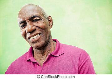 anziano, dall'aspetto, macchina fotografica, nero, ritratto, uomo sorridente