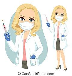 anziano, dottore femmina, presa a terra, vaccino