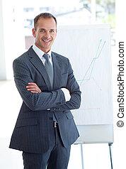 anziano, figure vendite, uomo affari, segnalazione
