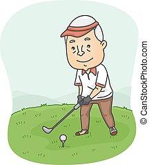 anziano, golfista