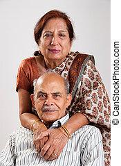 anziano, indiano, coppia