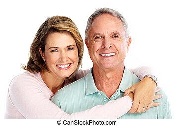 anziano, love., coppia, felice