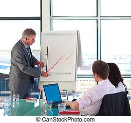 anziano, presentazione vendite, uomo affari, segnalazione
