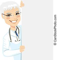 anziano, sbirciando, dottore