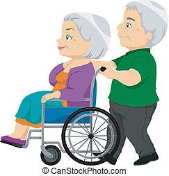 anziano, signora, carrozzella, vecchio, coppia