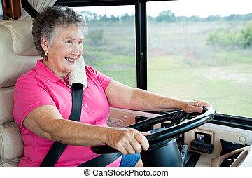 anziano, signora, rv, guida