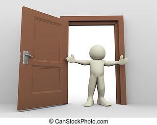 aperto, 3d, porta, uomo