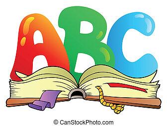aperto, abc, lettere, libro, cartone animato