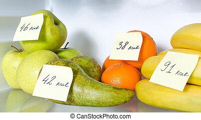 aperto, calorie, marcato, pieno, frutte, frigo