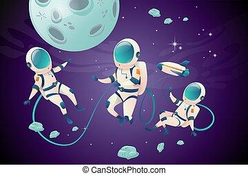 aperto, cartone animato, set, astronauvts, spazio, carattere