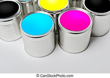 aperto, colorare, cima, cmyk, dipingere stagno, lattine, vista
