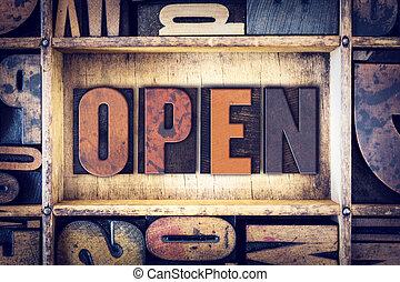 aperto, concetto, tipo, letterpress