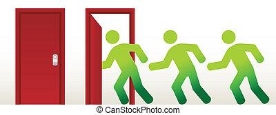 aperto, correndo, porta, persone