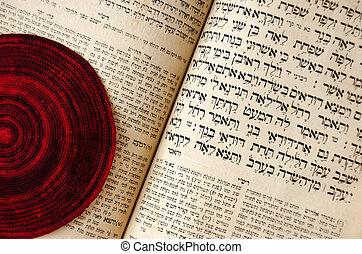 aperto, fuoco., closeup, bibbia, bale., vecchio, ebraico, ebreo, lavorato maglia, testo, selettivo, rosso