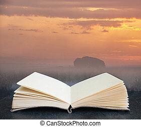 aperto, inspirational, libro, paesaggio, composito, digitale, tramortire, alba, inglese, campi, pagine, immagine, foschia, appendere, estate, campagna, sopra