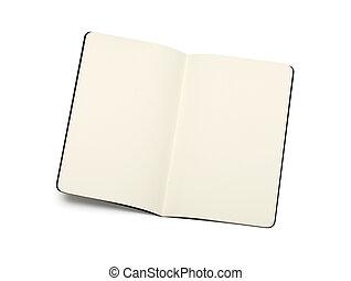 aperto, moleskine, isolare, -, struttura, nota riserva, vuoto, morbido, pagine