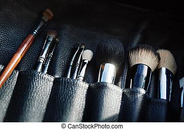 aperto, organizzatore, primo piano, spazzole, trucco