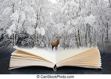 aperto, paesaggio, stagione, rosso, foresta, concettuale, cervo, composito, festivo, cervo, coperto, libro, inverno, neve, immagine, bello