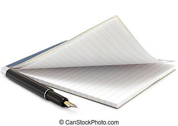 aperto, penna, blocco note