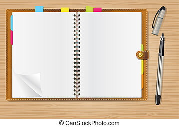 aperto, penna, diario