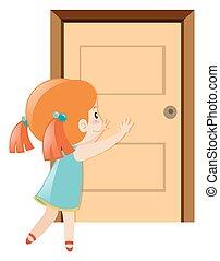 aperto, poco, spinta, porta, ragazza