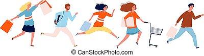 aperto, purchases., persone, o, discounts., fretta, donna nera, centro commerciale, illustrazione, shopping, uomo, corsa, vendita, tempo, vettore, venerdì