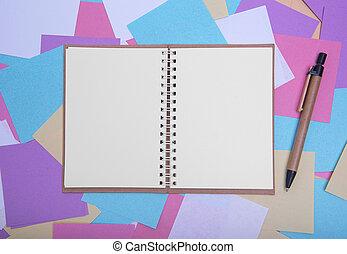 aperto, quaderno, stickers., sfondo colorato