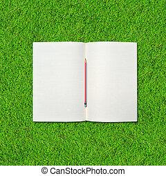 aperto, quaderno, vuoto