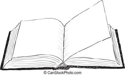 aperto, ruvido, libro, -, illustrazione
