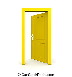 aperto, singolo, porta, giallo