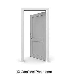 aperto, singolo, porta, grigio