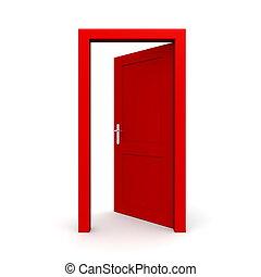 aperto, singolo, porta, rosso