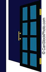 aperto, vettore, porta, illustrazione